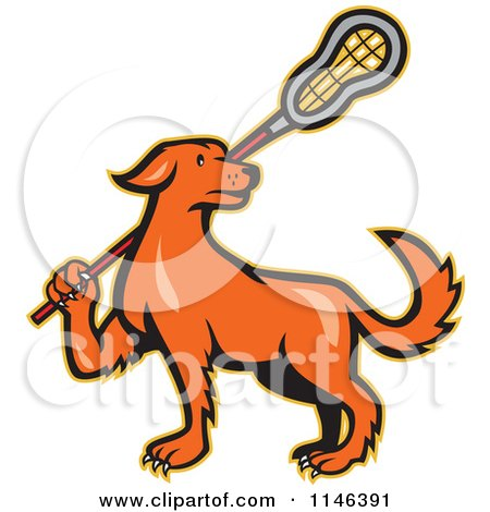 Cartoon of a Retro Orange Dog Carrying a Lacrosse Stick - Royalty Free Vector Clipart by patrimonio