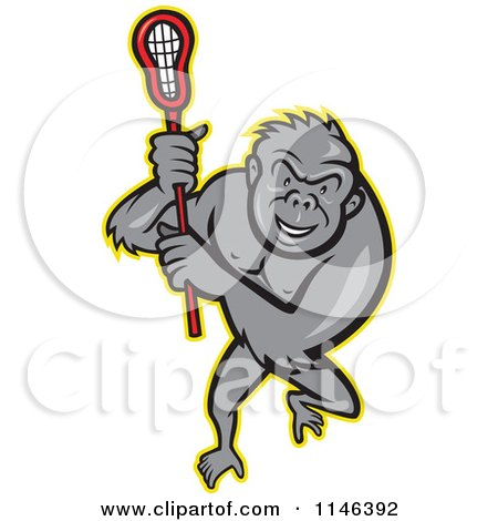 Cartoon of a Lacrosse Gorilla Holding a Stick - Royalty Free Vector Clipart by patrimonio