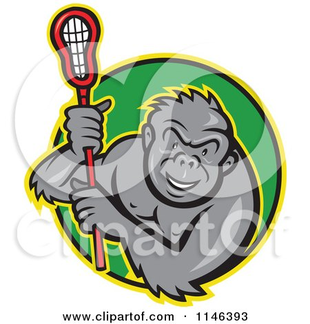 Cartoon of a Lacrosse Gorilla Holding a Stick in a Green Circle - Royalty Free Vector Clipart by patrimonio