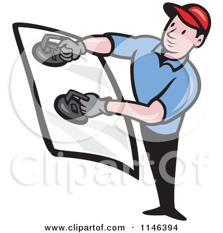 Cartoon of a Glass Installer Holding a Windshield - Royalty Free Vector Clipart by patrimonio