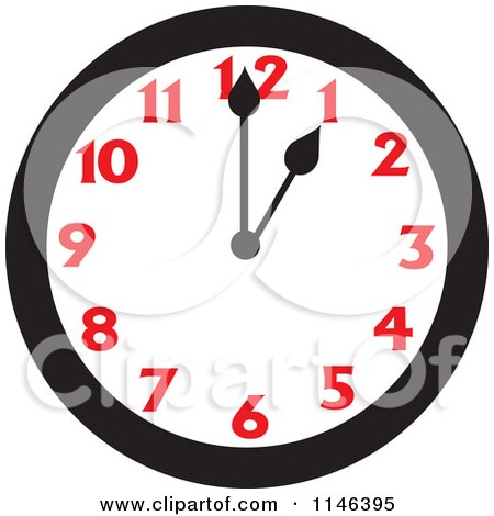 Cartoon of a Wall Clock Showing 1 - Royalty Free Vector Clipart by Johnny Sajem
