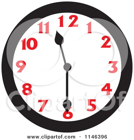 Cartoon of a Wall Clock Showing 11 30 - Royalty Free Vector Clipart by Johnny Sajem