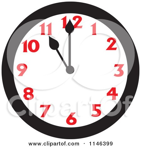 Cartoon of a Wall Clock Showing 11 - Royalty Free Vector Clipart by Johnny Sajem