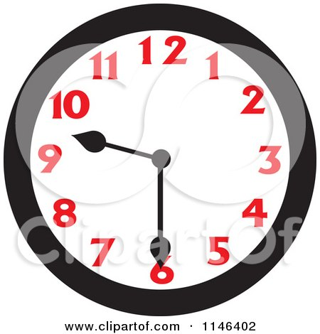 Cartoon of a Wall Clock Showing 9 30 - Royalty Free Vector Clipart by Johnny Sajem