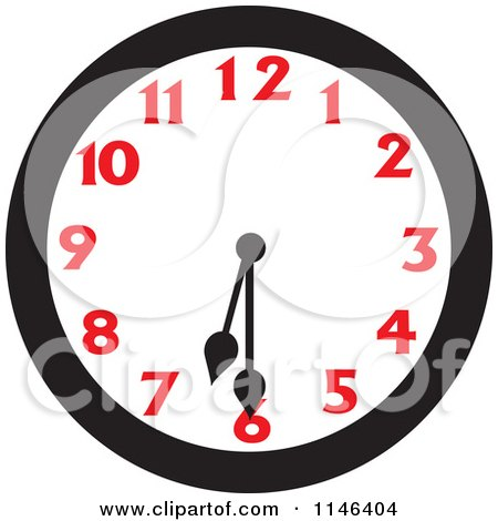 Cartoon of a Wall Clock Showing 6 30 - Royalty Free Vector Clipart by Johnny Sajem