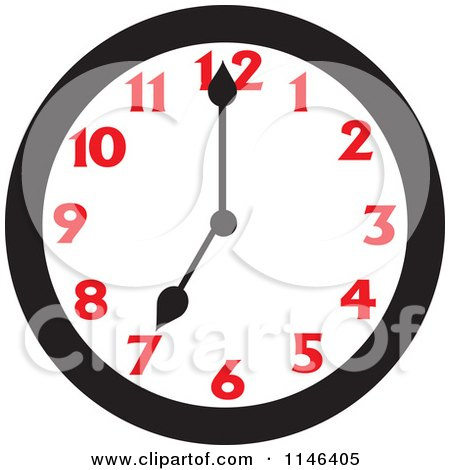 Cartoon of a Wall Clock Showing 7 - Royalty Free Vector Clipart by Johnny Sajem