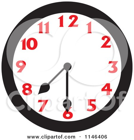 Cartoon of a Wall Clock Showing 7 30 - Royalty Free Vector Clipart by Johnny Sajem