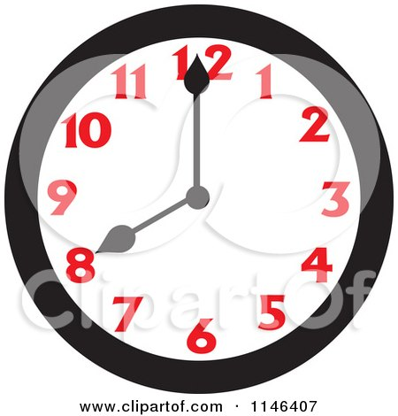 Cartoon of a Wall Clock Showing 8 - Royalty Free Vector Clipart by Johnny Sajem
