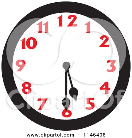 Cartoon of a Wall Clock Showing 5 30 - Royalty Free Vector Clipart by Johnny Sajem