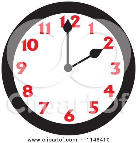 Cartoon of a Wall Clock Showing 2 - Royalty Free Vector Clipart by Johnny Sajem