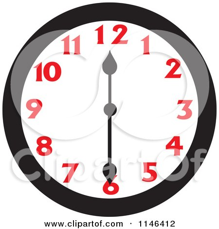 Cartoon Of A Wall Clock Showing 12 30 Royalty Free