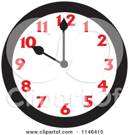 Cartoon of a Wall Clock Showing 10 - Royalty Free Vector Clipart by Johnny Sajem