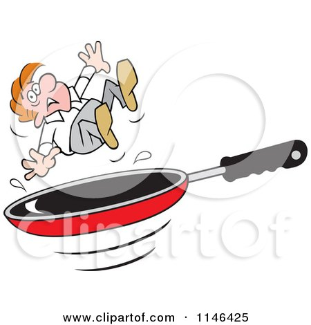 Cartoon Of A Pancake Flipping Over A Frying Pan Royalty
