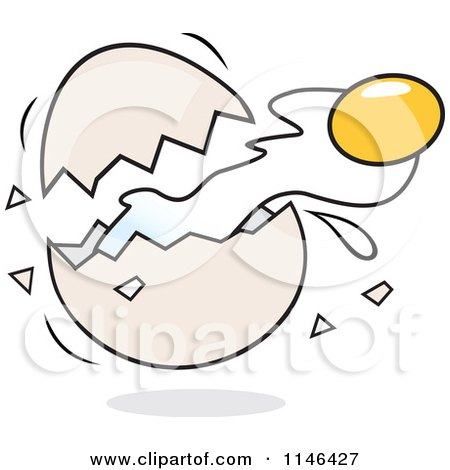 Cartoon of a Yolk Flying from a Cracked Egg - Royalty Free Vector Clipart by Johnny Sajem