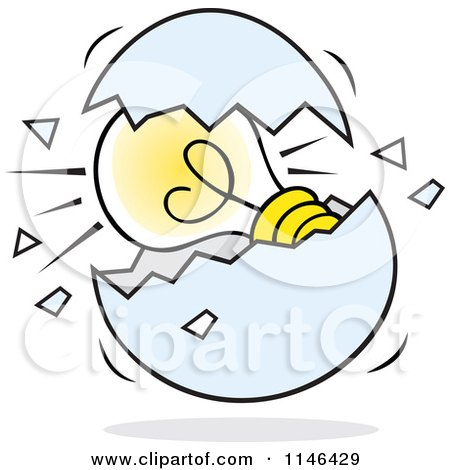 Cartoon of a Light Bulb in a Cracked Egg - Royalty Free Vector Clipart by Johnny Sajem