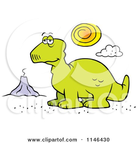 Cartoon of a Depressed Dinosaur and Volcano - Royalty Free Vector Clipart by Johnny Sajem