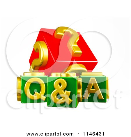 Clipart of 3d Red Gold and Green Q and a Cubes - Royalty Free CGI Illustration by MacX