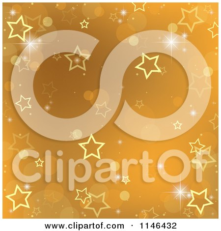 Clipart of a Gold Christmas Star and Bokeh Background - Royalty Free Vector Illustration by dero