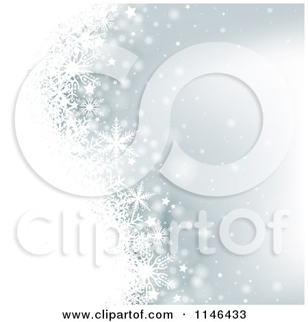 Clipart of a Silver Christmas Winter Snowflake Background - Royalty Free Vector Illustration by dero