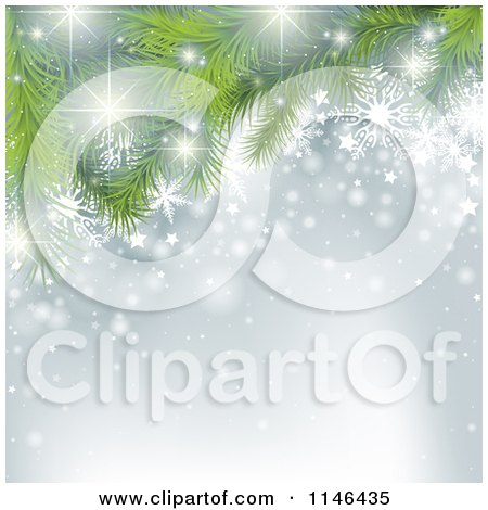 Clipart of a Silver Snowflake and Christmas Tree Background with Copyspace - Royalty Free Vector Illustration by dero
