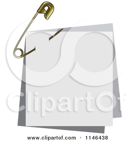 Clipart of a Gold Safety Pin Through Papers - Royalty Free Vector Illustration by Lal Perera