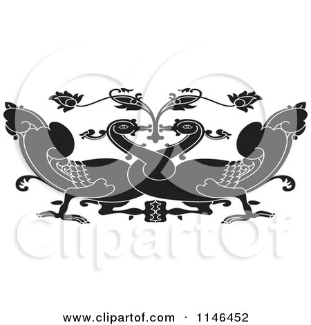 Clipart of a Black and White Asian Swan Design - Royalty Free Vector Illustration by Lal Perera