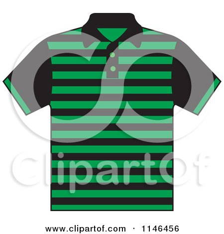 Clipart of a Green and Black Striped Mens Polo Shirt - Royalty Free Vector Illustration by Lal Perera