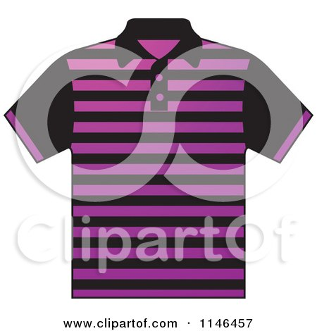 Clipart of a Purple and Black Striped Mens Polo Shirt - Royalty Free Vector Illustration by Lal Perera