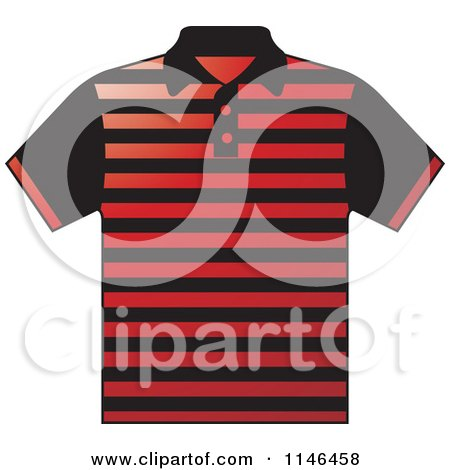 Clipart of a Red and Black Striped Mens Polo Shirt - Royalty Free Vector Illustration by Lal Perera