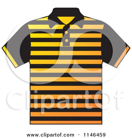 Clipart of a Yellow and Black Striped Mens Polo Shirt - Royalty Free Vector Illustration by Lal Perera