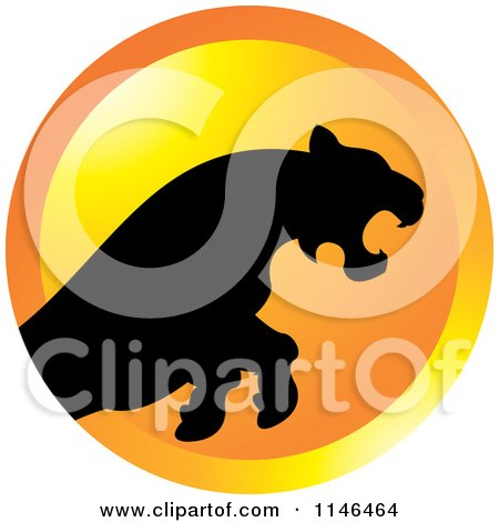 Clipart of a Leaping Puma or Tiger Icon 2 - Royalty Free Vector Illustration by Lal Perera