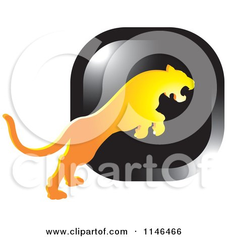 Clipart of a Leaping Puma or Tiger Icon 4 - Royalty Free Vector Illustration by Lal Perera