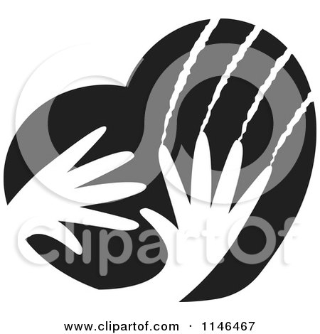 Clipart of Black and White Violent Hands Scratching a Heart - Royalty Free Vector Illustration by Lal Perera