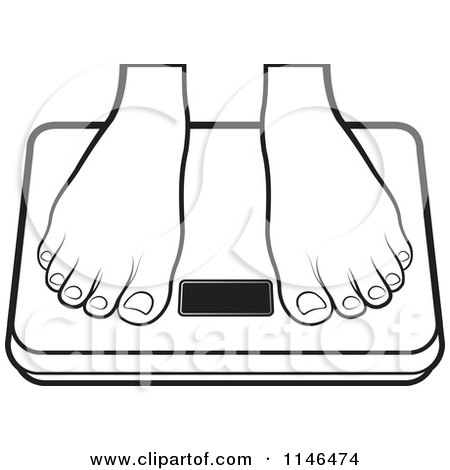 Clipart of a Pair of Feet on a Weight Scale - Royalty Free Vector ...
