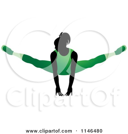 Clipart of a Silhouetted Gymnast Woman Balancing on Her Hands in a Green Leotard - Royalty Free Vector Illustration by Lal Perera