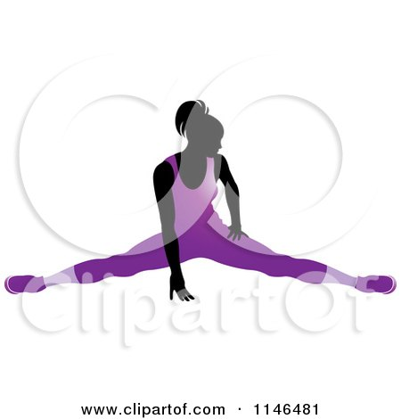 Clipart of a Silhouetted Gymnast Woman Stretching in a Purple Leotard - Royalty Free Vector Illustration by Lal Perera