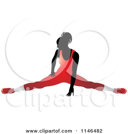 Silhouetted Gymnast Woman Doing the Splits in a Red ...