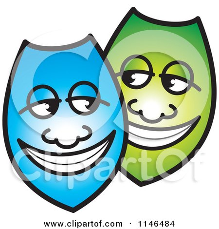 Clipart of Happy Blue and Green Shields or Masks - Royalty Free Vector Illustration by Lal Perera
