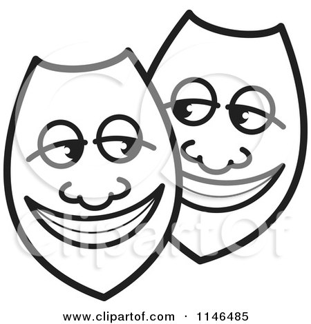Clipart of Happy Black and White Shields or Masks - Royalty Free Vector Illustration by Lal Perera