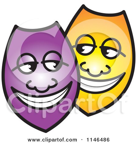 Clipart of Happy Purple and Yellow Shields or Masks - Royalty Free Vector Illustration by Lal Perera