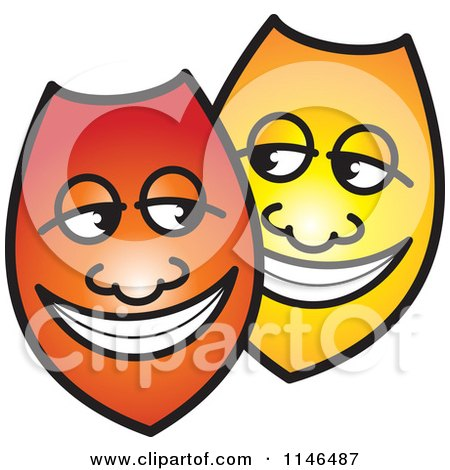 Clipart of Happy Red and Yellow Shields or Masks - Royalty Free Vector Illustration by Lal Perera
