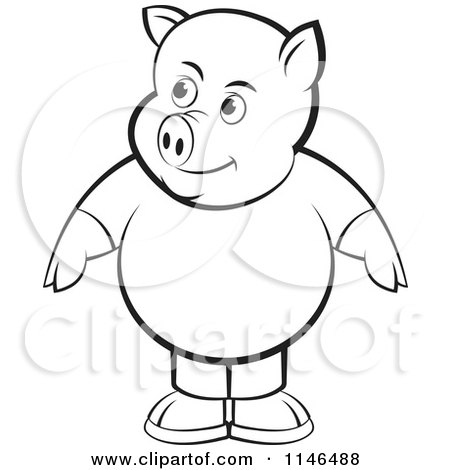 Clipart of a Chubby Black and White Pig in Clothes - Royalty Free Vector Illustration by Lal Perera