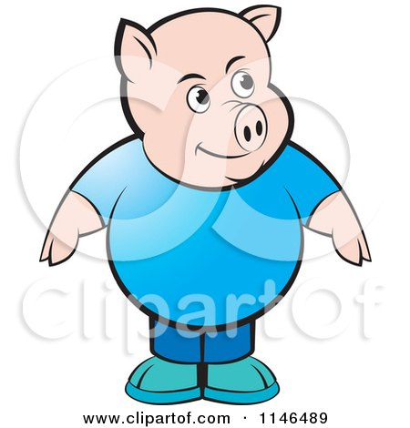 Clipart of a Chubby Pig in a Blue Shirt - Royalty Free Vector Illustration by Lal Perera