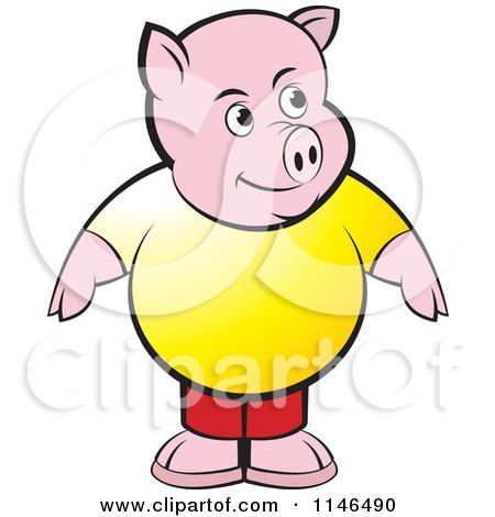 Clipart of a Chubby Pig in a Yellow Shirt - Royalty Free Vector Illustration by Lal Perera