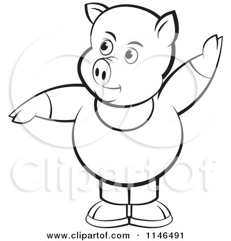 Clipart of a Chubby Black and White Pig in Clothes with One Hand up - Royalty Free Vector Illustration by Lal Perera