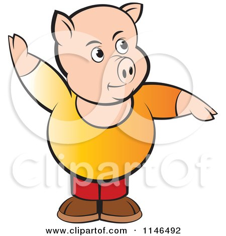 Clipart of a Chubby Pig with One Arm up - Royalty Free Vector Illustration by Lal Perera