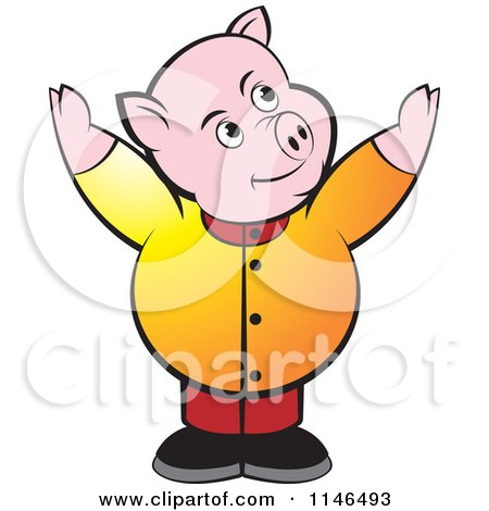 Clipart of a Chubby Pig with Both Arms up - Royalty Free Vector Illustration by Lal Perera