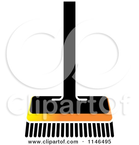 Clipart of a Black and Orange Push Broom - Royalty Free Vector Illustration by Lal Perera