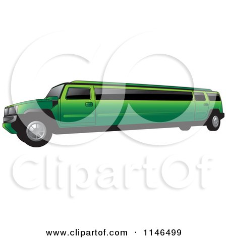 Clipart of a Green Hummer Stretch Limo - Royalty Free Vector Illustration by Lal Perera