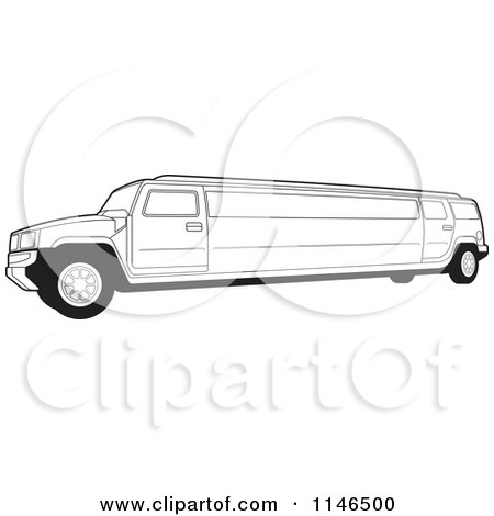 Clipart of a Black and White Hummer Stretch Limo - Royalty Free Vector Illustration by Lal Perera